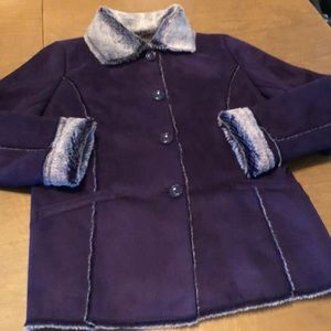 PECK & PECK Purple Faux Rabbit Fur / Suede Coat